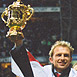 Matt Dawson holding the Rugby World Cup 2003